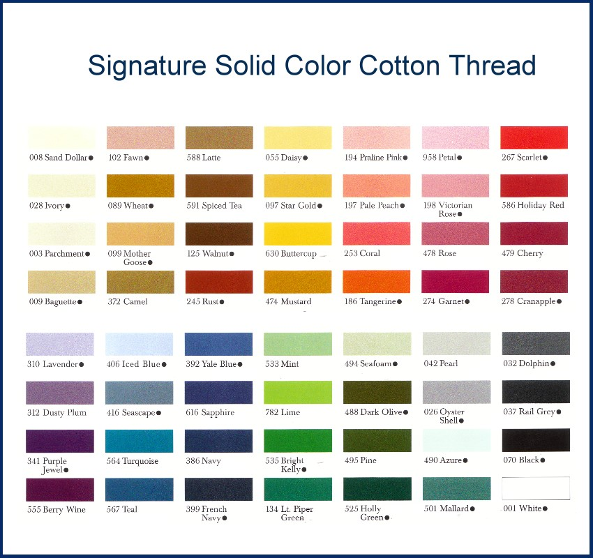 signature thread color chart